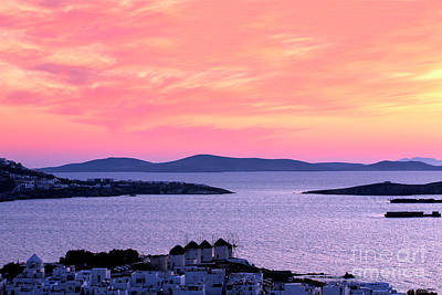 Photograph - Pink In The Sky Over The Aegean In Mykonos by John Rizzuto
