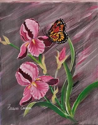 Painting - Pink Iris by Fram Cama