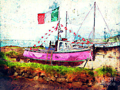 Mixed Media - Pink Irish Boat by Claire Bull