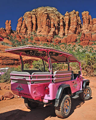 Pink Jeep At Sedona Art Print by Jack Moskovita