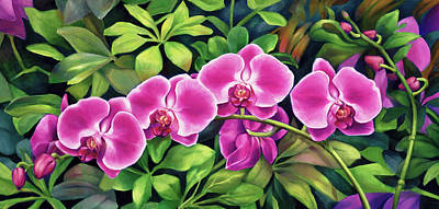 Painting - Pink Jungle Orchids by Nancy Tilles