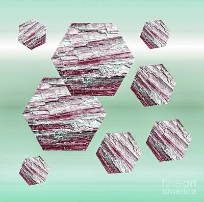 Digital Art - Pink Kyanite Hexagons On Pale Green by Rachel Hannah
