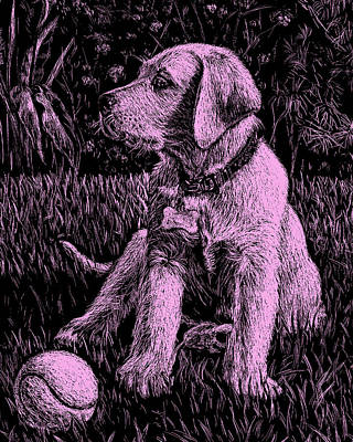 Painting - Pink Labrador Puppy Dog by Irina Sztukowski