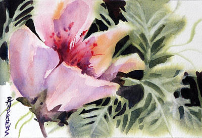 Wet Into Wet Watercolor Painting - Pink Lady by Rae Andrews