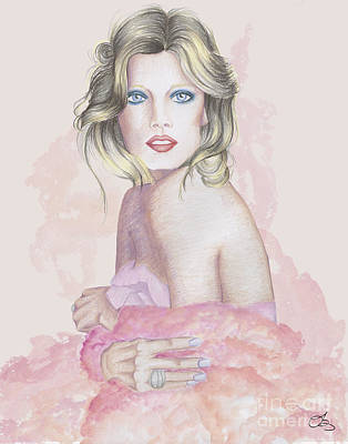 Red Gown Drawing - Pink Lady by Samantha Burns