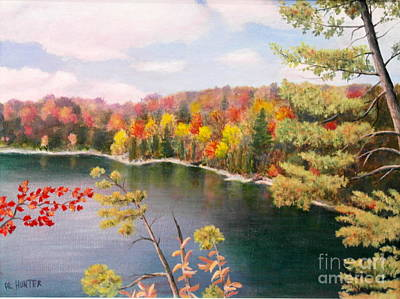 Painting - Pink Lake Qc by Al Hunter