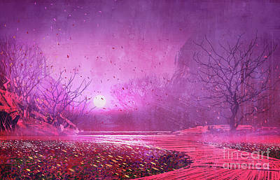 Abstract Trees Mandy Budan - Pink landscape by Tithi Luadthong