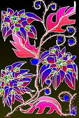Digital Art - Pink Leaves Blue Flowers by Rae Chichilnitsky