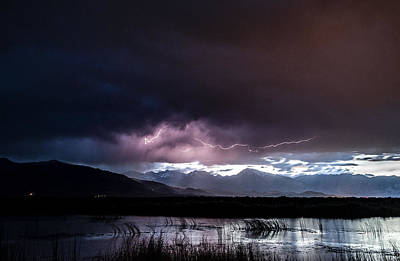Lightning Photograph - Pink Lightning by Cat Connor