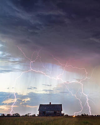 Lightning Strike Photograph - Pink Lightning On The Prairie Portrait by James BO  Insogna
