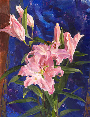 Pink Lilies And Chinese Silk Art Print by Victoria Kharchenko