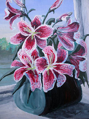 Wall Art - Painting - Pink Lilies by Cheryl Bishop
