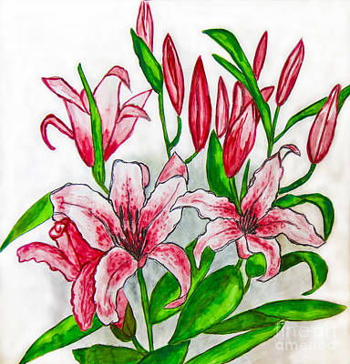 Painting - Pink Lilies, Painting by Irina Afonskaya