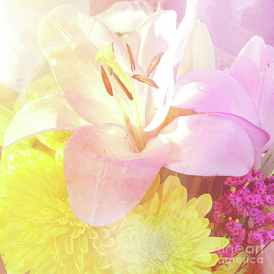 Art Print featuring the photograph Pink Lilies Yellow Mums by Cindy Garber Iverson