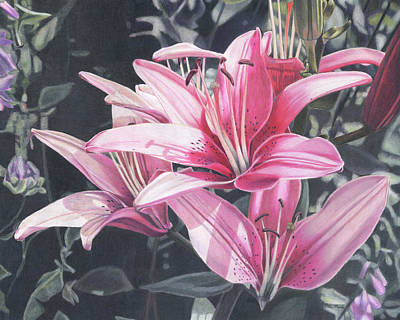 Painting - Pink Lilies by Robin Manelis