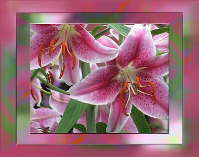 Artist Debra Vatalaro Mixed Media - Pink Lily Design by Debra     Vatalaro