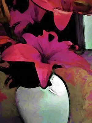 Digital Art - Pink Lily In A Vase by Jackie VanO