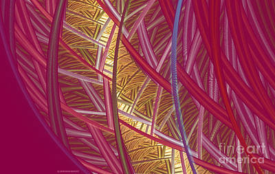 Apophysis Mixed Media - Pink Lines by Deborah Benoit