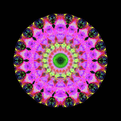 Fractal Painting - Pink Love Mandala Art By Sharon Cummings by Sharon Cummings