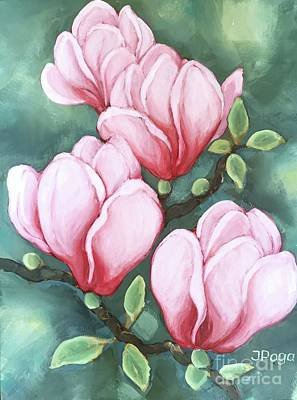 Painting - Pink Magnolia Blooms by Inese Poga