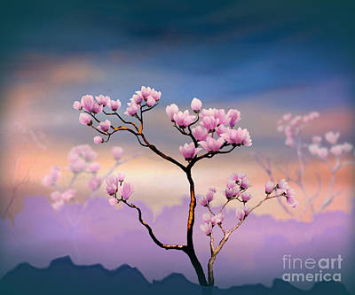 Mountain View Mixed Media - Pink Magnolia - Bright Version by Bedros Awak