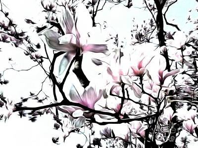 Art Print featuring the photograph Pink Magnolia - In Black And White  by Janine Riley