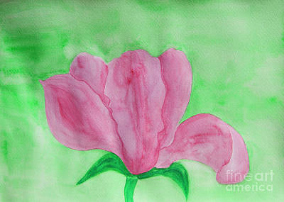 Painting - Pink Magnolia On Green by Irina Afonskaya