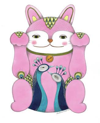 Drawing - Pink Maneki-neko by Helena Melo