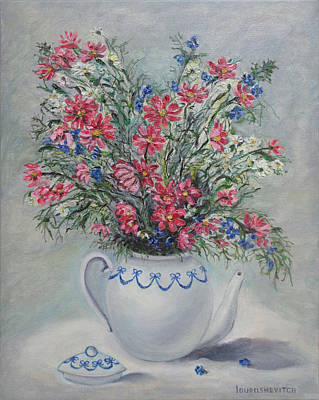 Teapot Painting - Pink Meadow Flowers Blooming In A Kettle by Katerina Iourashevich Ricci