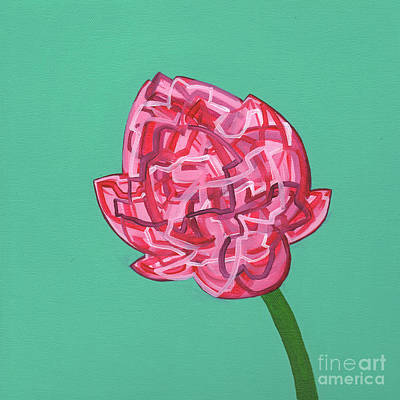 Painting - Pink Meditating Lotus Bud by Nancy Fritz