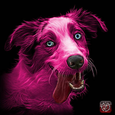 Painting - Pink Merle Australian Shepherd - 2136 - Bb by James Ahn