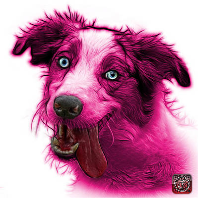 Painting - Pink Merle Australian Shepherd - 2136 - Wb by James Ahn