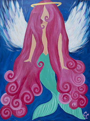 Angel Mermaids Ocean Painting - Pink Mermaid Angel by Chelsea Crumbliss