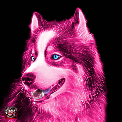 Painting - Pink Modern Siberian Husky Dog Art - 6024 - Bb by James Ahn