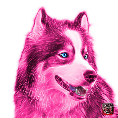 Painting - Pink Modern Siberian Husky Dog Art - 6024 - Wb by James Ahn