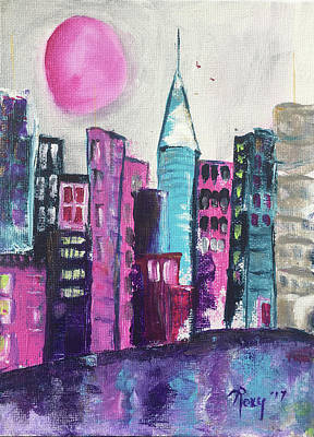 Pink Painting - Pink Moon City by Roxy Rich