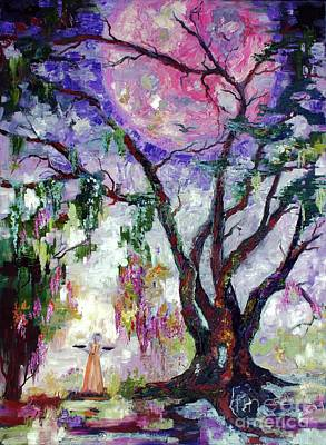 Painting - Pink Moon In The Garden Of Good And Evil Savannah Bird Girl by Ginette Callaway