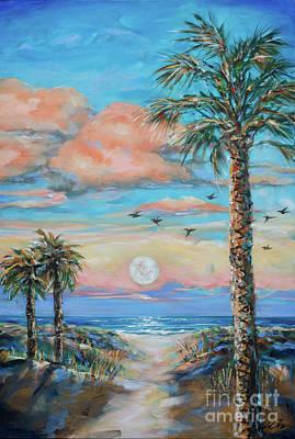Painting - Pink Moon Rise by Linda Olsen