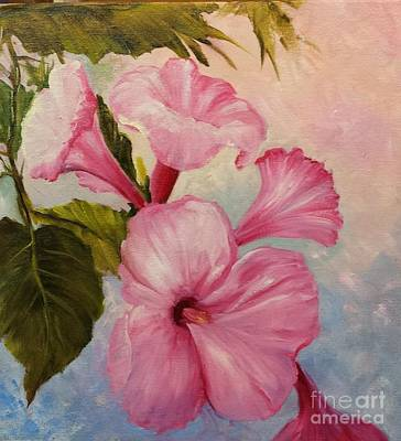 Painting - Pink Morning Glories by Barbara Haviland