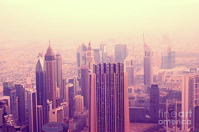 City Lanscape Photograph - Pink Morning In Dubai by Kira Yan