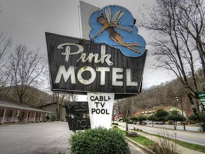 Tinkerbell Photograph - Pink Motel Sign Maggie Valley North Carolina by Jane Linders