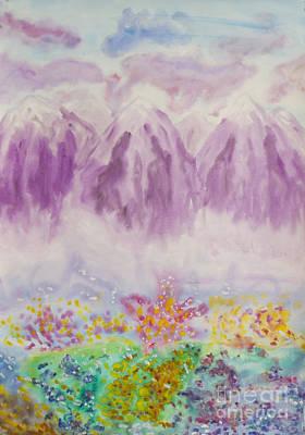 Painting - Pink Mountains, Painting by Irina Afonskaya