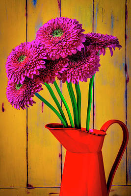 Photograph - Pink Mums In Orange Pitcher by Garry Gay
