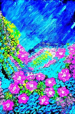 Art Print featuring the painting Pink N Blue by Piety Dsilva