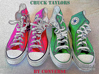 Converse Shoe Digital Art - Pink N Green Chuckieh by Don Pedro De Gracia
