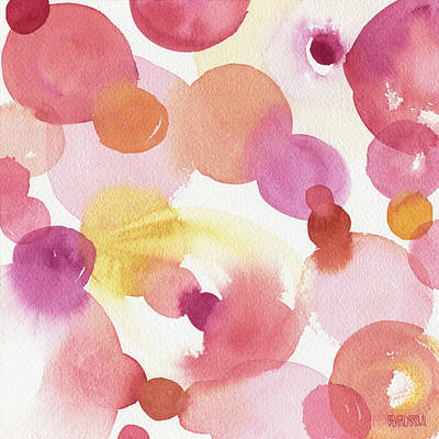 Pink Orange Yellow Abstract Watercolor Art Print by Beverly Brown