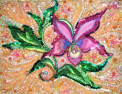 Bead Embroidery Painting - Pink Orchid Jeweled Bead Embroidery by Sofia Metal Queen