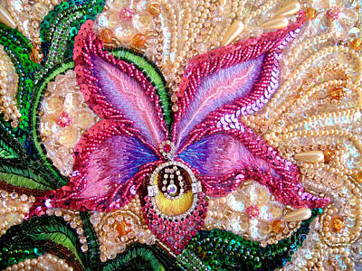 Artisan Handcrafted Photograph - Pink Orchid Fantasy Jeweled Beadwork  by Sofia Metal Queen