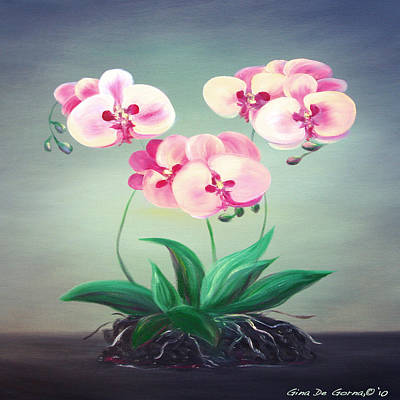 Painting - Pink Orchids 2 by Gina De Gorna