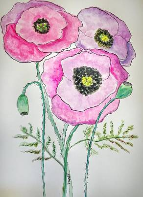 Painting - Pink Oriental Poppies by Anne Sands